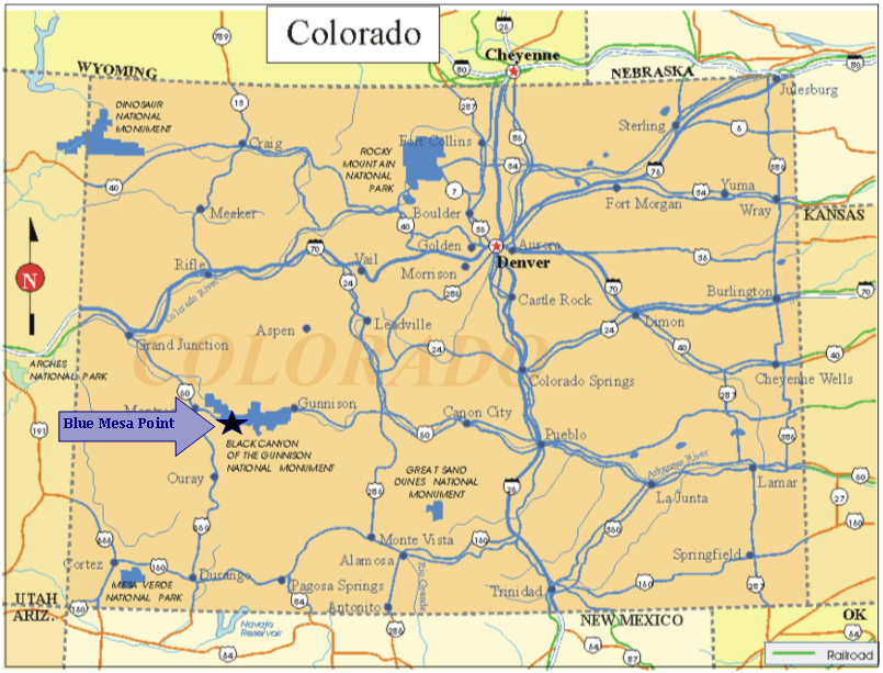 Colorado Map with Blue Mesa Point
